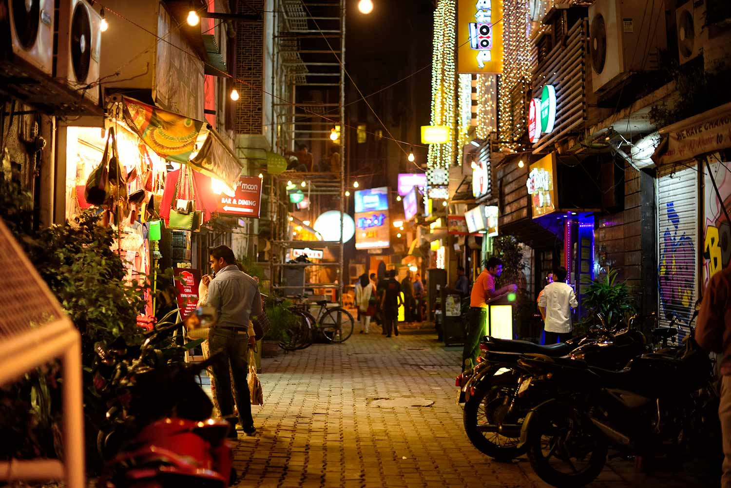 Street in New Delhi with coloured lights at Diwali