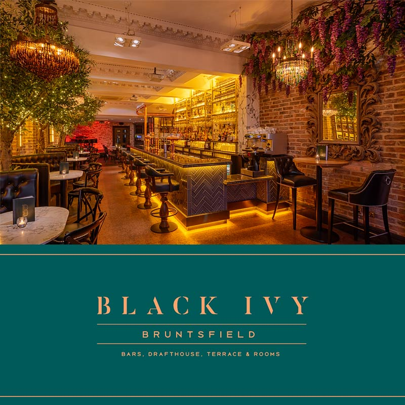 Interior photo of Hotel Bar with logo at Black Ivy Edinburgh
