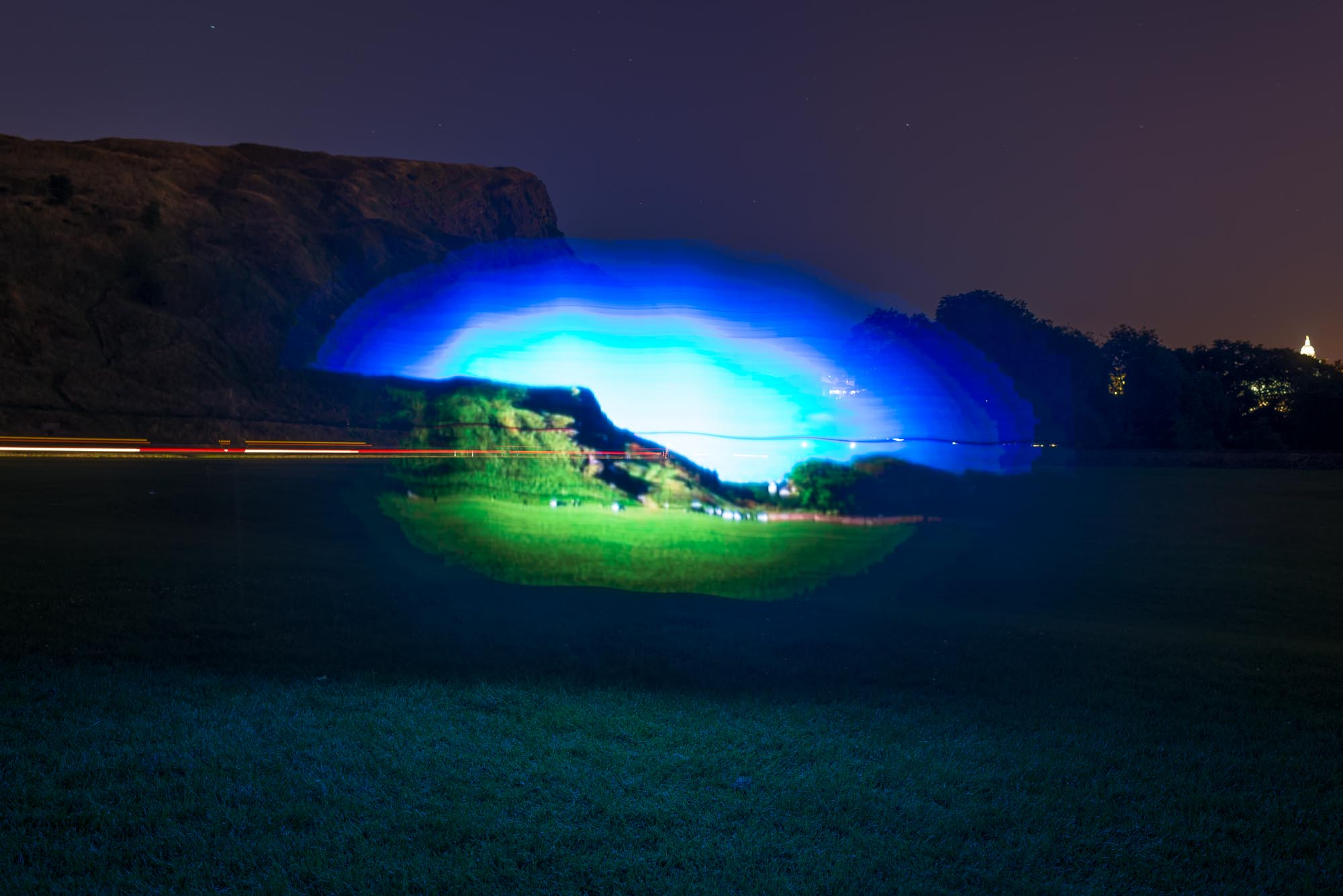 Day to Night Light Painting number 2, Salisbury Crags, Edinburgh. Software and hardware by Devicer.