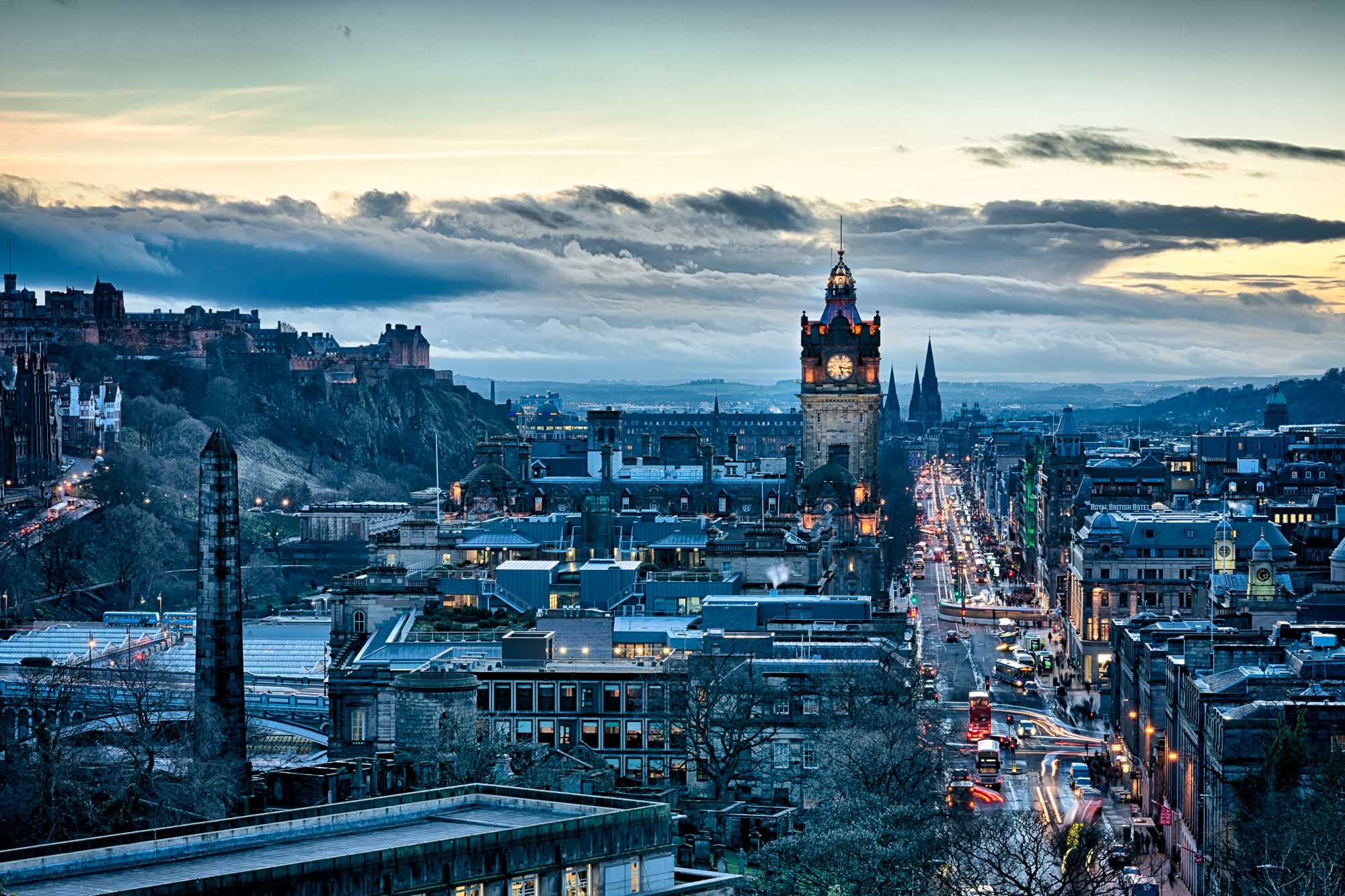 Edinburgh's Princes Street from Calton Hill, Blue hour. Photography by Iain Robinson.