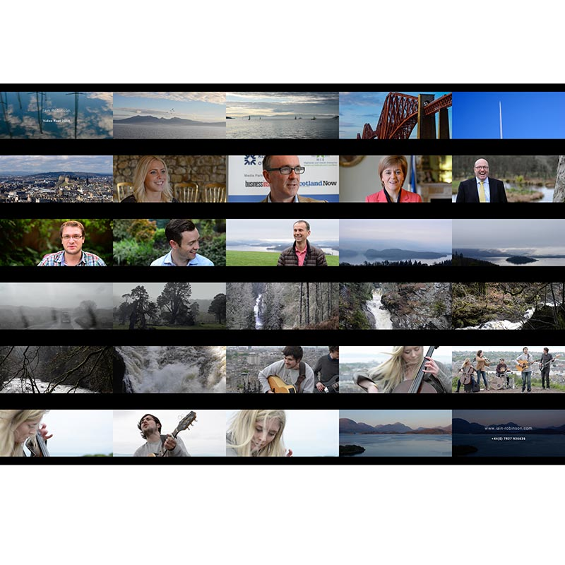 Montage of still images from Iain Robinson Photography Video Reel 2016